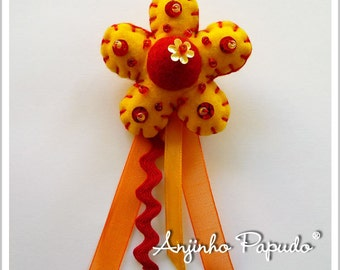 Yellow and Orange Flower Brooch