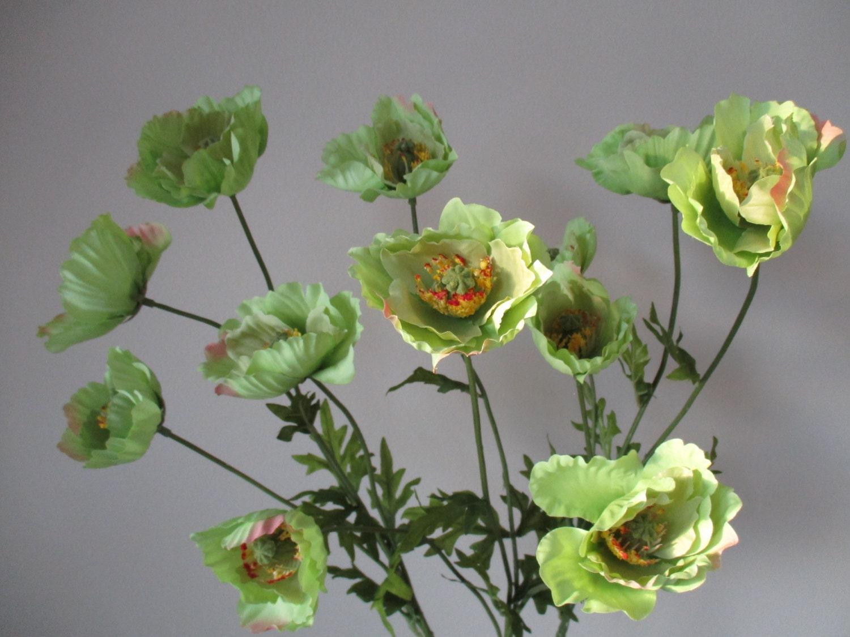 3 Green Poppy Stems Diy Silk Flowers Home Decor 26 Sprays With 12