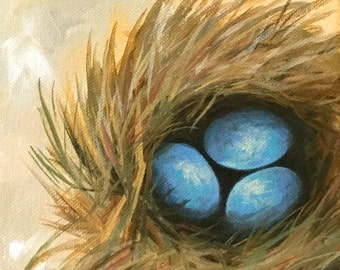 """Robin's Blue Eggs VII 6"""" x 6"""" Original Nest and Egg Painting on Gallery Wrapped Canvas by Torrie Smiley"""