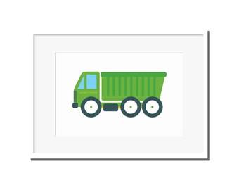 Nursery print, modern nursery art, kids room art, nursery art, truck print, nursery decor, green dump truck, dump truck, green truck