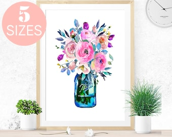 Bouquet wall art watercolor print, watercolor art, flower art, flower print, flower wall art, wedding gift, mothers day gift, kitchen print