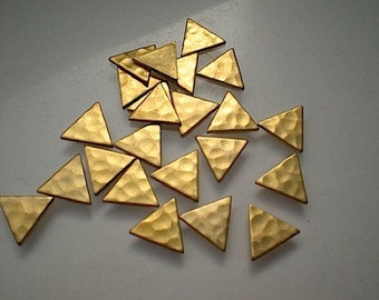 24 tiny hammered brass triangle charms