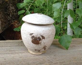 Pug Urn Pet Cremation Urn for Dog Up to 15 lbs or Keepsake Urn