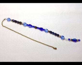 Cobalt Sapphire Iris Blue Crystal Beaded Fan Pull