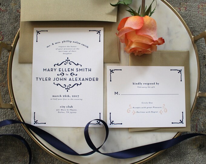 PRINTABLE Wedding Invitation Suite | Timeless Love in Navy & Blush