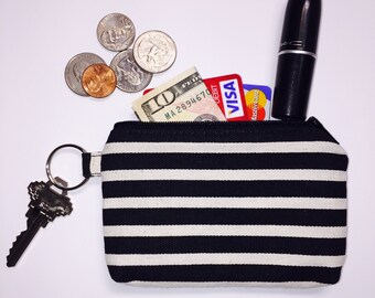 Zipper Pouch; Black & Tan Striped Little Zipper Pouch Wallet; Coin Purse; ID Wallet; Personalized Zipper Pouch; Credit Card Holder; Pouch