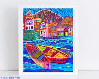 Mediterranean Sea Folk Art Print -- Turqouise Waters Home Decor - Colorful Boats - Vibrant Wall Art