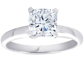 1 1/2ct Cushion Diamond Solitaire 4-Prong Engagement Ring 14k White Gold ((G-H), SI(1)-SI(2))