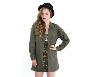 Vintage 1980s German army olive blouse military shirt khaki boyfriend jacket oversized