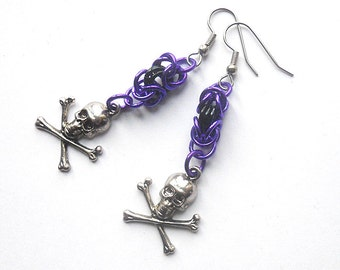 Skull and crossbones earrings, Pirate jewelry, Purple and black, Chainmaille pirate earrings