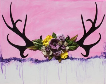 Mixed Media Art Canvas 16x20 Canvas She Antlers
