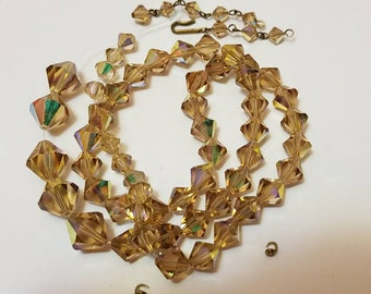Stunning vintage AB bicone pale topaz beads/necklace