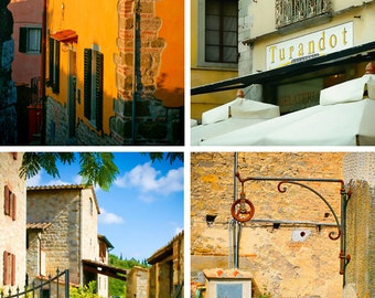 Tuscany Prints - Set of 4 - Tuscany Vignettes - Fairy Tale Hill Towns - Fine art photography - Lucca, Chianti, Arezzo, Montecatini Alto