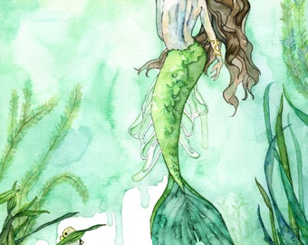 "Watercolor Mermaid Painting, Mermaid Print, Beach Decor, Mermaid Decor, Mermaid Wall Art, Mermaid Art, Print titled, ""Among the Seagrass"""
