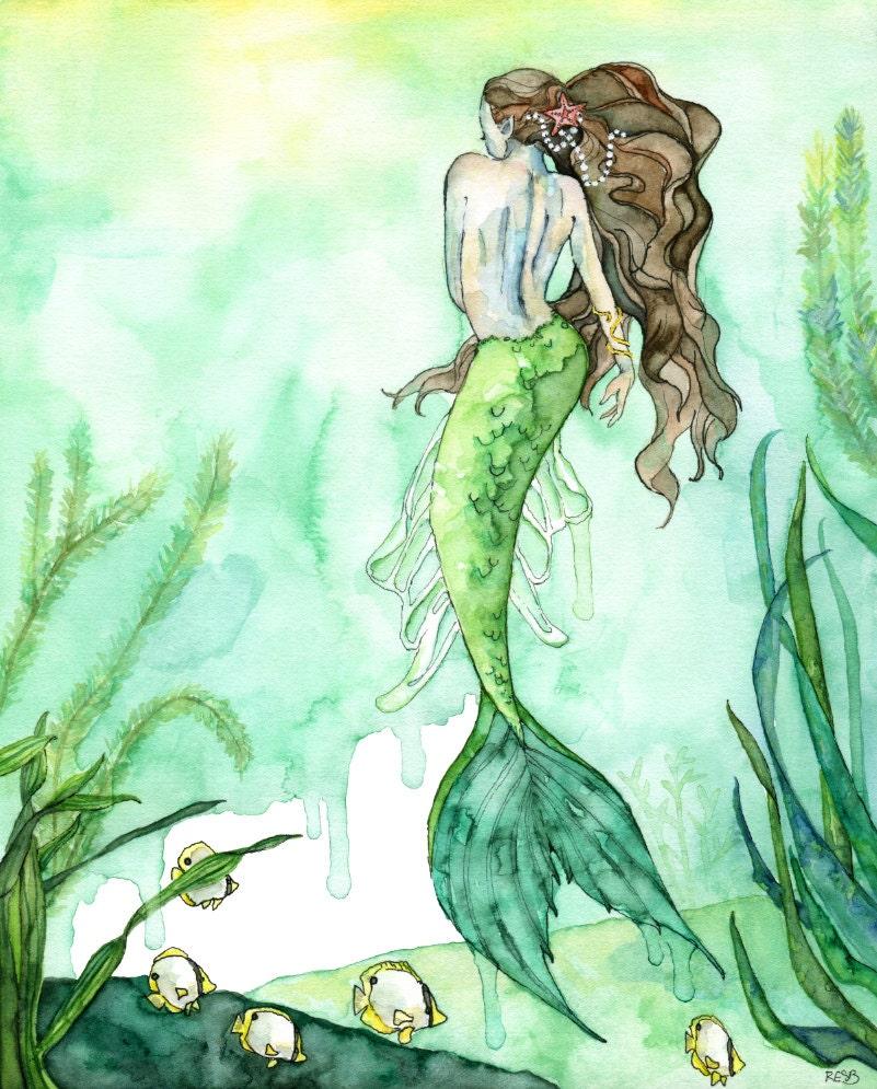 Watercolor Mermaid Painting Mermaid Print Beach Decor # Muebles Sirena Animal Crossing