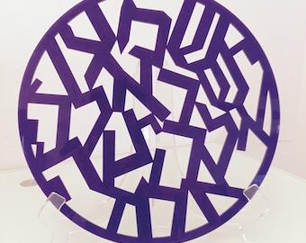 Shema Israel Purple Acrylic 11'' w/base