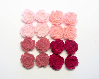 Felt flowers roses Set of 16 (pink fuchsia) small craft supply scrapbooking supplies headband handmade die cut applique Christmas decors