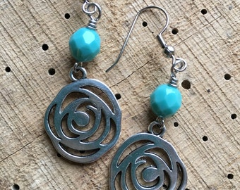 Rose Earrings with bead