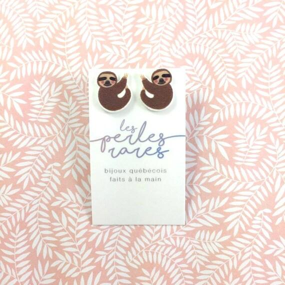 sloth, earring, brown, sloth animal, lovely sloth, earring, earring, print on plastic, stainless stud, handmade, les perles rares