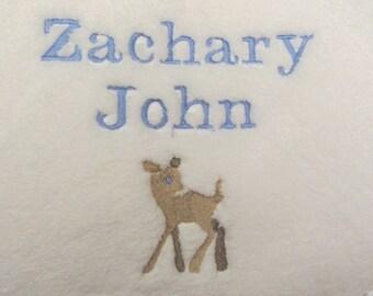Baby Blanket Custom Personalized Name and Deer Baby Blanket