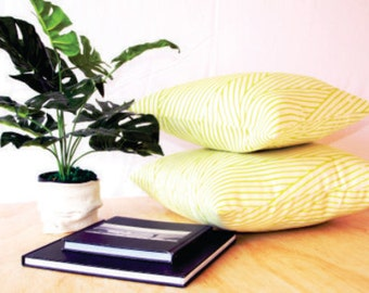 Neon stripe cushion cover. Linen blend fabric to brighten any space. Two sizes available.