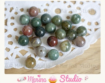 10 natural 8 mm - rare India agate beads gems