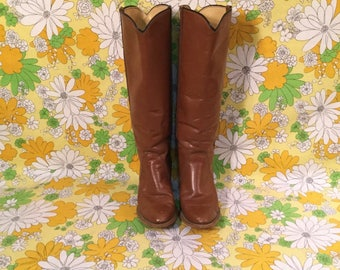 70s Vintage Frye Cogniac Leather Knee High Boots 8 8B