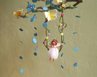 Mobile, fairy on a swing with three butterflies - Waldorf inspired, needle felted, by Naturechild