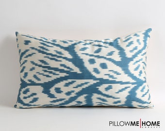 ikat pillow cover, blue white ikat pillow cover, accent pillow, 12x20 decorative throw pillow