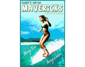 Mavericks California Half Moon Bay Travel Poster Hang Ten Longboard Art Print 339