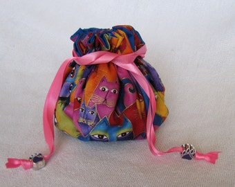 Jewelry Bag - Medium Size - Travel Jewelry Tote - Drawstring Jewelry Pouch - MEOW WOW