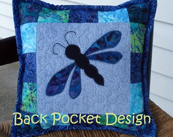"""Purple Batik Dragonfly Quilted Denim 10"""" Toss Pillow made with recycled denim jeans"""