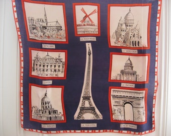 Iconic Paris France Scarf of famous monuments, Eiffel Tower, Moulin Rouge, Notre Dame, Opera. Red white and blue. Original Francophile gift.