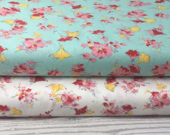 Riley Blake Floral Lily Main/Cream & Mint/Cotton/ Fabrics/ Sewing/ Quilting/ Quilt