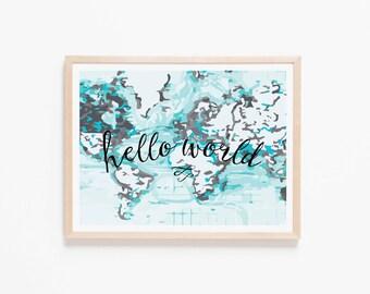 Hello World Aqua + Black Nursery Art. Nursery Wall Art. Nursery Prints. Nursery Decor. Boy Wall Art. Adventure Nursery. Map Print.