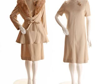 1970s Two Piece Tan Polyester Shift Dress with Matching Peplum Flared Waist Mink Trim Oversized Collar Over Jacket -L