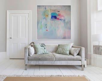 "Abstract print, large giclée print, grey, blue,   ""Embellish #7"""