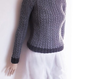 Women's Charcoal Grey Cable Knit Sweater Custom Color Pullover