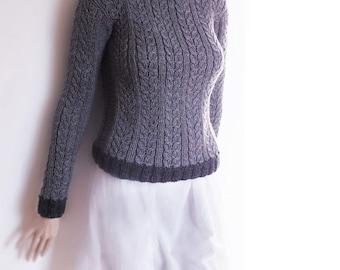 Damen Zopfmuster Kohle grau Pullover benutzerdefinierte Farbe Pullover