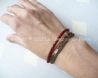 DESTASH Bracelet red braided leather and chains