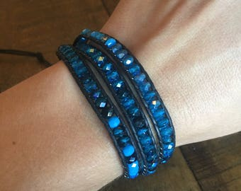 Capri Blue Czech glass beaded bohemian leather triple wrap bracelet