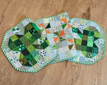 Quilted Shamrock Table Runner, Vintage Inspired St. Patrick's Day Centerpiece, Green Beige and Orange Scrappy Patchwork