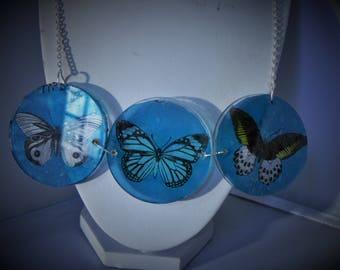botanical butterfly vintage style acrylic statement necklace