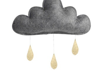 Cloud mobile.Charcoal grey cloud with gold drops, The Butter Flying-Rain Cloud Mobile Nursery Children Decor