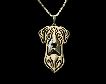 Great dane jewelry - Gold pendant and necklace