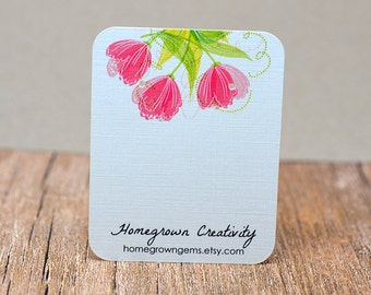 Earring Cards Customized with Pink Tulip Flowers and Your Information - Jewelry Display Tags - Price Tags - Earring Tags DS035