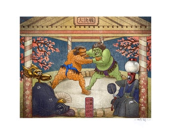 Sumo Match 11 x 14 Signed Print -MST3K Hulk and Thing Japanese Style