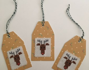 Handmade Christmas Reindeer Cross Stitched Gift Tags (Set of 4)