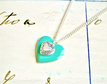Mint green enameled heart necklace, heart necklace, love necklace, locket necklace, mint necklace