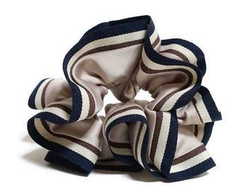 Stripe Trim Satin Hair Elastic Ties Scrunchies Free Shipping Women Hair Accessory